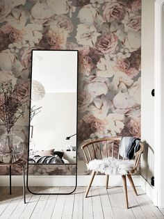 Abnehmbare #Tapete für Dein #Schlafzimmer. #Fototapete mit floralem Muster als schöne #Wanddeko / Removable #wallpaper for your #bedroom. Photo wallpaper with #floral pattern as beautiful wall decoration made by The Goodies via DaWanda.com