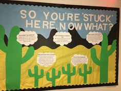 RA bulletin board cactus themed welcome to college RA bulletin board cactus themed welcome to college Cafe Bulletin Boards, September Bulletin Boards, Welcome Bulletin Boards, College Bulletin Boards, Kindergarten Bulletin Boards, Bulletin Board Design, Halloween Bulletin Boards, Interactive Bulletin Boards, Ra Themes