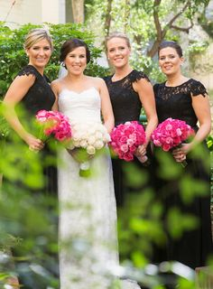 Black bridesmaid dresses. Hmmmm, that would be cool because they could wear their dresses again.