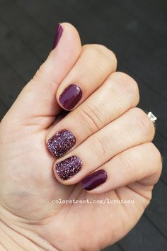 I can't even begin to express how much I love this color, Aberdeen Aubergine! Its gorgeous! I added some glitter with Prism Break! Makeup Designs, Nail Art Designs, Makeup Ideas, Nail Ideas, Makeup Hacks, Ten Nails, Luxury Nails, Chrome Nails, Color Street Nails