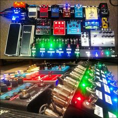 Nigel Hendroff's pedal board. I don't know why anyone needs a Strymon Timeline + 3 other delays pedals + 2 reverb pedals. But, something tells me he knows what he's doing... @Cindy Phillips-Hargrove