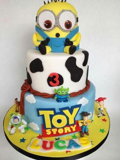 Minion toy story tied birthday cake
