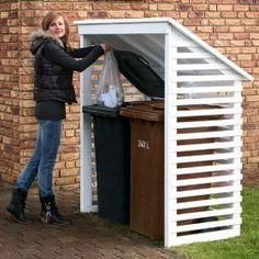 Build a Shed on a Weekend - Id like this for our trash container too. Build a Shed on a Weekend - Our plans include complete step-by-step details. If you are a first time builder trying to figure out how to build a shed, you are in the right place! Diy Storage Shed Plans, Wood Shed Plans, Free Shed Plans, Diy Shed, Bin Storage, Garage Storage, Deck Plans, Storage Sheds, Porch Plans
