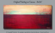 Modern painting for bedroom, dining area or living room. Large wall art. Original sunset painting on canvas in red, golden yellow, mustard and