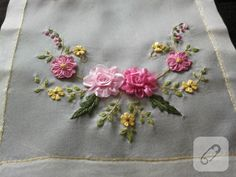 This Pin was discovered by iri Silk Ribbon Embroidery, Embroidery Stitches, Embroidery Patterns, Hand Embroidery, Ribbon Art, Fabric Ribbon, Ribbon Bows, Tissue Paper Tassel, Brazilian Embroidery