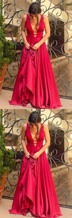 elegant red long prom dress, 2018 prom dress, formal evening dress, party dress