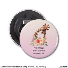 Cute Giraffe Pair Mom & Baby Watercolor Shower Bottle Opener Safari Party, Safari Theme, Mother And Baby, Mom And Baby, Pretty Flowers, Pretty In Pink, Cute Giraffe, Color Blending, Cute Drawings