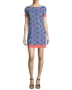 Tory Burch Elisabeth Short-Sleeve Printed Sheath Dress, Sea Coral Artemis, Women's, Size: XS