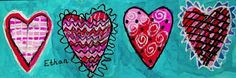 """""""Patterned Hearts"""" for same station as love word by Robert Indiana.  Do in same method. I like how the hearts are pink and red (warm colours) and the background is cool. For this one cut the large paper in 4 strips . Use the thicker paper"""