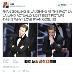 Screen-Shot-2017-02-27-at-11.03.21-AM | Ryan Gosling's Reaction To That Huge Oscars Fail Is Both Adorable And SadOscars 2017: Best Picture confusionWhy Your Favorite Movies Get Snubbed At The OscarsFather-Son Company Donates Designer Suits To Low-Income Men