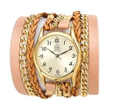 Pink Leather and Chain Wrap Watch