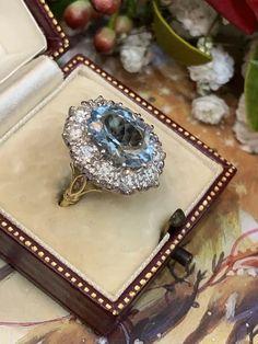 Wonderful Oval Aquamarine and Diamond Ring Asscher Cut Diamond, Diamond Cuts, Unusual Engagement Rings, Aquamarine Jewelry, Vintage Rings, Vintage Jewellery, Yellow Gold Rings, Jewelery, Dart Frogs