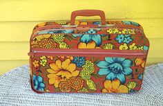 Vintage 1960s Floral Cloth Small Suitcase Overnight Bag By