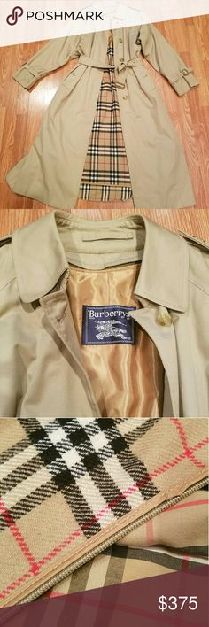 Vintage BURBERRY Classic Trench Coat w/ Liner Classic & Timeless! The Burberry Trench will NEVER go out of style! This Vintage Coat will easily become a staple in your wardrobe. Lined in Nova Check Print with the hard to find Nova Check wool zip out. Leather buckles in fine condition. No rips, tears, holes, a few very minor spots should come out, barely worth mentioning. In Fabulous condition. Authentic of course! Size label reads 6 XL plus. Burberry Jackets & Coats Trench Coats