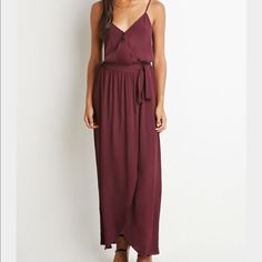Maroon Wrap Maxi Dress Worn once for a beach wedding - Maroon colored, light material, tie waist - absolutely gorgeous and so perfect for the summer. Looks very luxe. Forever 21 Dresses Maxi