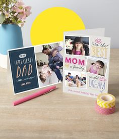 """Nothing says """"I love you"""" more than a personalized Photo Card for Mother's Day and Father's Day. Add special pics and a message, and print the same day! Continue the tradition each year, storing the cards in a special spot, to look back at how your family has grown!"""