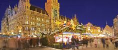 The main Münich Christmas market in front of the aptly named Rathaus (City Hall). Lapland Holidays, Snow Holidays, German Christmas Markets, Get In The Mood, Munich, San Francisco Skyline, Germany, Street View, Explore