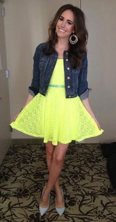 Louise Roe! Only she could work a florescent neon yellow dress; especially in the day.