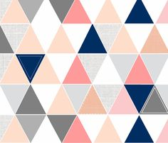 Coral/Navy Sketch Triangle Quilt fabric by tycbabyboutique on Spoonflower - custom fabric