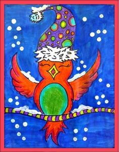 Art project. Winter or Christmas. Grade 1 and up. Can be done with Kindergarten if you help them with their drawings of the bird. The students learn how to draw a bird, they see the concepts of patterns and alternation. You can do this project with any technique. I do it with pencil crayons and tempera block (paint) Printable sheets for the wire that the birds perch on, to create an incredible communal project. Detailed description, photos and evaluation rubric included.  Follow me on TPT…
