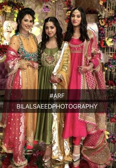 Brides side at the Mehndi Anarkali Frock, Anarkali Suits, Pakistani Outfits, Indian Outfits, Ethenic Wear, Hand Embroidery Dress, Groom Outfit, Indian Couture, Party Wear Dresses