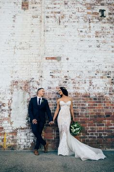 Great background.   Powerhouse, Brisbane City wedding photography. Leah Da Gloria lace couture wedding dress.