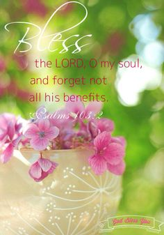 Psalms 103:2 (KJV). Bless the Lord, O my soul, and forget not all his