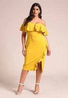 Plus Size Off Shoulder Ruffle Bodycon Dress