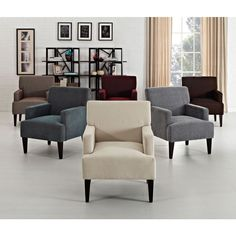 Add a modern classic to your home decor with this Tux accent chair. Available in six unique solid colors, this chair feature simple and elegant arms as well as tapered espresso legs to form a classic style chair that is perfect for contemporary homes.