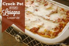 Crock-Pot Layered Lasagna Casserole - Make this amazing lasagna recipe today in either your casserole crock-pot or regular oval slow cooker! (recipe from ) Casserole Crock Recipes, Slow Cooker Casserole, Lasagna Casserole, Slow Cooker Lasagna, Crock Pot Slow Cooker, Crock Pot Cooking, Slow Cooker Recipes, Crockpot Recipes, Cooking Recipes