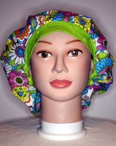 Flowers with Green Bouffant Surgical Scrub Hat by duehringphotocc, $5.00