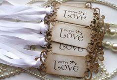 Wedding Favor Tags With Love Set of 75 Vintage Look por amaretto