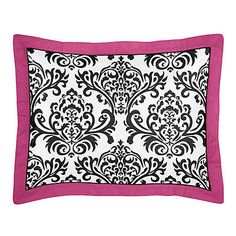 Sweet Jojo Designs Isabella Hot Pink, Black and White Collection Standard Pillow Sham