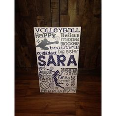 New Years Personalized Wooden Teen Volleyball Sign ($64) ❤ liked on Polyvore featuring home, home decor, wall art, grey, home & living, home décor, wall décor, sports signs, wood wall art and personalized wall signs