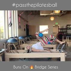 """This goodie is for @goneadventuringpilates ! Thanks so much for tagging me for #passthepilatesball ! So fun being apart of the fabulous #pilatescommunity ! I am seriously inspired daily by you people. I also love the your feedback and support as I share my love for Pilates. I call this series """"Buns On Bridge"""". It's a killer as it really kills my butt! I typically do reps of 10. I am using 2 red springs. This video is sped up x4. Take it slow and move to your Pilates breath. I would li..."""