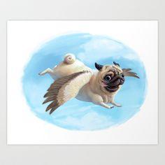 Pugasus Art Print by Syd Hanson - $18.00 @Megan VanWaus