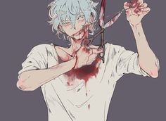 Bloody dark anime boy pastel Guro (one of my favorite pictures)