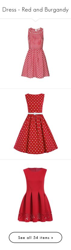"""""""Dress - Red and Burgandy"""" by csliteraryjewelry ❤ liked on Polyvore featuring dresses, full skirt, louche dress, red gingham dress, vintage full skirt dress, red full skirt, red, vestidos, red dress and boatneck dress"""