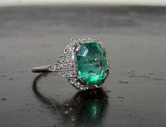 Perfection: Art Deco Emerald and Diamond Ring Platinum, Sweden c. 1930