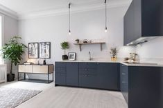 Cozy home with a blue living kitchen - via cocolapinedesign.com Kitchen, ideas, diy, house, indoor, organization, home, design, cook, shelving, backsplash, oven, desk, decorating, bar, storage, table, interior, modern, life hack.