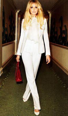 Kate Upton - Harper's Bazaar - Ultra chic white suit