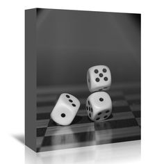 "East Urban Home Cube Dice Hobby Game Photographic Print on Wrapped Canvas Size: 24"" H x 20"" W x 1.5"" D"