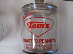 New 1 Gal Glass Tom's Jar with Lid Delicious Tom's Toasted Peanuts | eBay