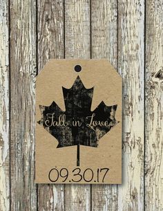 Printed Fall in Love Gift Tags fall in love wedding favor