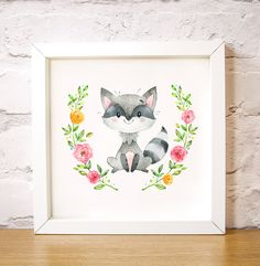 """Nursery wall art Bandit the Racoon is one of the Forest Friends animal set, modern decor, add a name print, digital instant download A3, 16"""" x 16"""" 40 x 40cm large poster A3 size  This cute watercolour image of a cheeky racoon surrounded by beautiful roses makes a lovely gift to welcome a new baby or as nursery wall art or as girl or boy bedroom art. by Latchfarmstudios"""