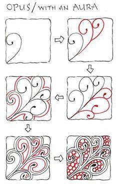 Zentangle: OPUS / with an AURA - Would be a good free motion quilting pattern Doodles Zentangles, Tangle Doodle, Zentangle Drawings, Doodle Drawings, Easy Doodle Art, Zen Doodle, Diy Planner, Zantangle Art, Op Art