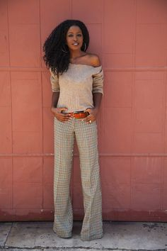 Style Pantry: Beige off the shoulder sweater and wide leg pants