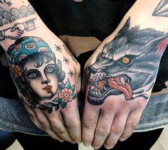 woman and wolf tattoo on hands Old Tattoos, Body Art Tattoos, Small Tattoos, Sleeve Tattoos, Tatoos, Wolf Tattoo Traditional, Indian Skull Tattoos, David Tattoo, Old School Tattoo Designs