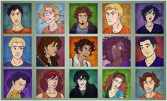 Percy Jackson, Annabeth Chase, Grover Underwood, Luke Castellan, Thalia Grace, Jason Grace, Piper Mclean, Leo Valdez, Hazel Levesque, Frank Zhang, Reyna, Clarisse La Rue, Nico Di Angelo, Rachel Dare, plus a Stoll brother ~ Percy Jackson Character Portraits by lostie815.deviantart.com on @deviantART