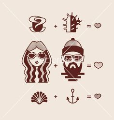 Retro hipster Man and woman couple in love vector by yemelianova on VectorStock®